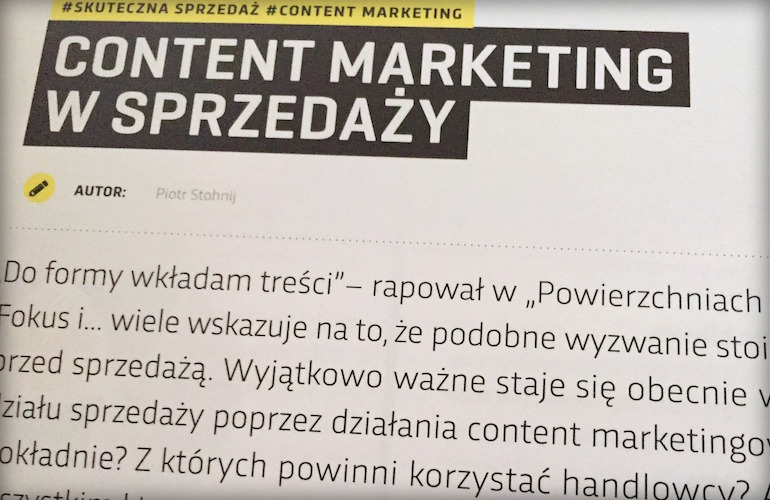 Cntent marketing w sprzdaży